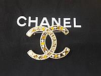 Брошь булавка, класическая брошь, брошь на платье с разноцветным хрусталем, круглой формы, фото 1