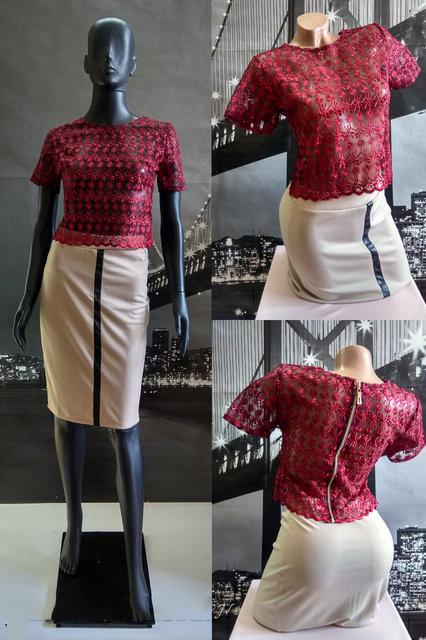 889106bc91d Нарядный костюм бежевая юбка с бордовым топом - СТИЛЬНАЯ ДЕВУШКА интернет  магазин модной женской одежды в