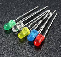 Комплект разноцветных светодиодов диам. 5мм (50шт ассорти 5цв по 10шт)