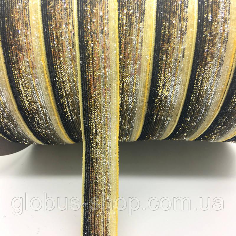 Оксамитова стрічка, 10 мм чорно-золота