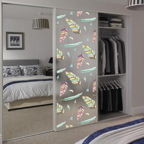 Самоклеющаяся виниловая пленка на стекло с рисунком Бохо (перья, стрелы, наклейки на зеркало, окно, стекло)