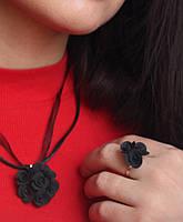 """Подарок девушке на день 14 февраля """"Элегантный чёрный""""комплект авторских украшений (кулон+кольцо)., фото 1"""