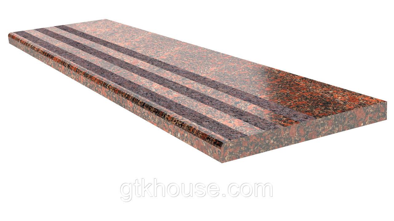 Ступени гранитные для входной лестницы Новодниловские термообработанные 800*300*30