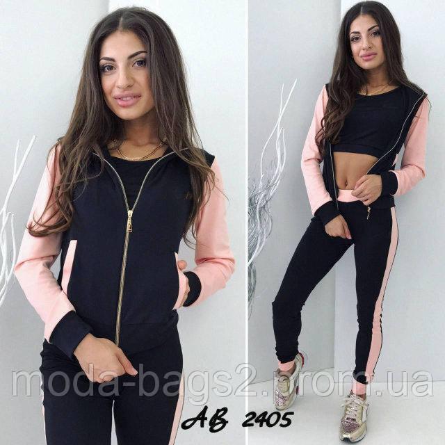 39990baf131c Женский спортивный костюм-тройка розовый 42,44,46,48: продажа, цена ...