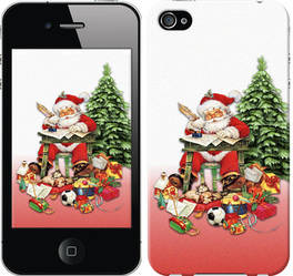 "Чехол на iPhone 4 Дед Мороз с подарками ""219c-15-328"""