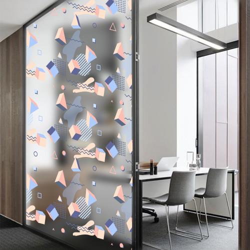 Матовая пленка на стекло, зеркало шкафа купе Кубизм (под пескоструй, самоклеющаяся декоративная винил наклейка