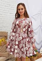 Платье детское подростковое Рыбка бордо+молочный для девочки 140,146,152см фасон годе украшение в компл