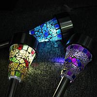 Садовый светильник на солнечной батарее, мозаика синий / CAB95