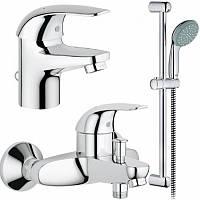 Набір змішувачів Grohe Euroeco 123226S змішувачі для умивальника, ванни стійка