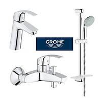 Набор смесителей для ванны Grohe Eurosmart 123246M и умывальника стойка M-Size