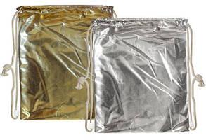 Сумка для обуви тканевая золото/серебро 32*42см