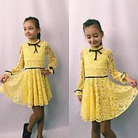 Шикарное стрейч гипюровое детское платье в размерах 116-134, фото 1