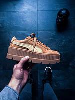 Женские кроссовки Пума Рианна (реплика) на платформе Puma Rihanna (Golden Brown) коричнево-бежевые замшевые
