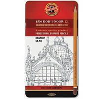 Набір олівців чорнографітних Koh-i-noor 1500 Graphic 12 шт 5B-5H, в метал. пеналі
