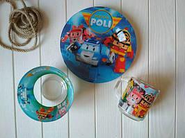 Набор детской посуды из стекла Робокар Поли