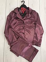 Атласный комплект штаны и рубашка, пижамы женские.