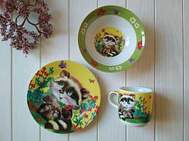 Набор детской посуды из керамики Енот, посуда для детского сада оптом