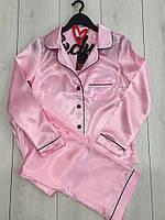 Штаны и рубашка-розовый атласный комплект, пижамы женские.