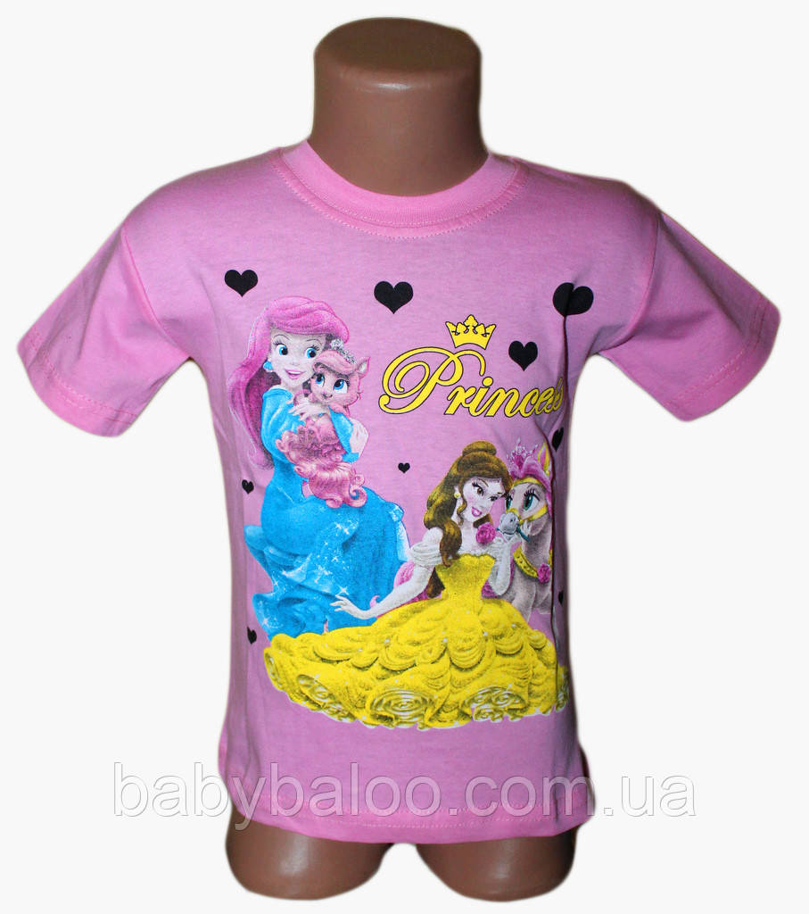 """Классная футболка для девочки """"Принцессы""""(от 3 до 7 лет)"""