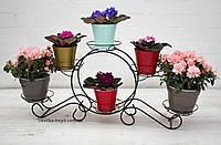 Кованая подставка для цветов Карета малая 6