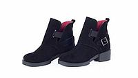 Черные замшевые женские ботинки