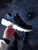 Женские кроссовки Найк Хуарачи Nike (реплика) Air Huarache чёрно-белые