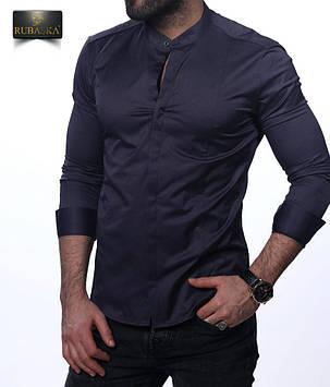 17d6df931c8 Стильная темно-синяя рубашка с длинным рукавом  продажа