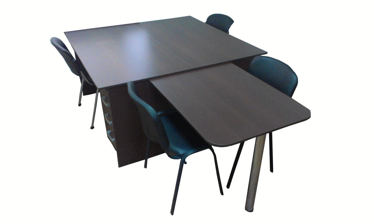 Комплект офисной мебели №1 ( стол компьютерный 2 шт + стол приставной), фото 1
