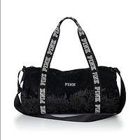 Велюровая чёрная сумка Victoria's Secret Pink