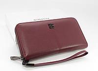 Кошелек женский кожаный на молнии Givenchy 6288 бордовый, фото 1