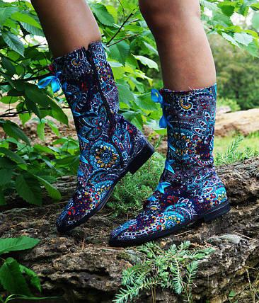 Тканинні чоботи на шнурівці, на підкладці. Розміри 35-42, фото 2