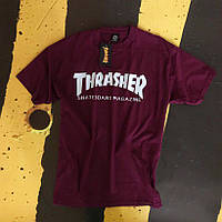 Футболка Thrasher мужская бордовая. Оригинальная бирка