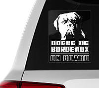 Автомобильная наклейка на стекло Бордоский дог на борту