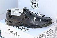 Летние мужские туфли из натуральной кожи на липучке Matador S 01 черн.