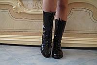 Полусапожки на шнуровке, эко лак. Размеры 35-42, код 4010О