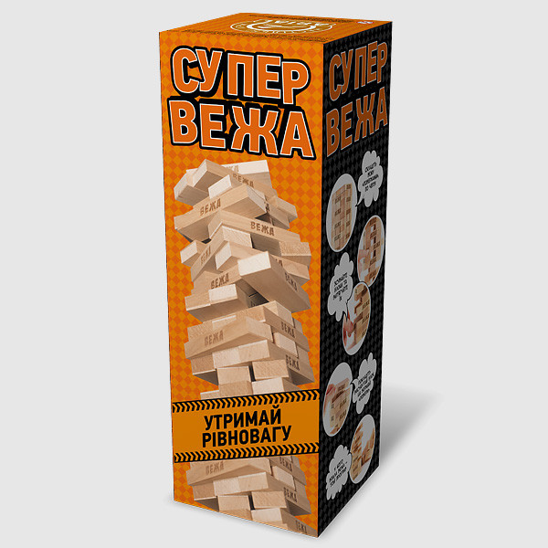 """Настольная игра Ариал Джанга Дженга (Jenga) """"Супер вежа"""""""