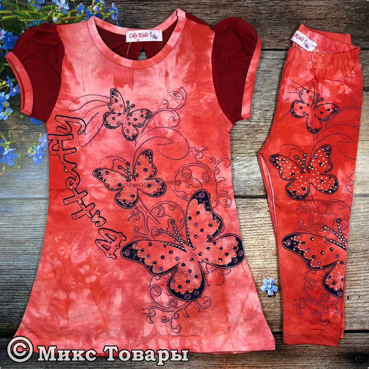 Стильный летний костюм для девочек Размеры: 92,104,116,128 см (6183-5)