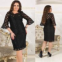 Утонченное нарядное платье до колен с рукавами воланами батал большие размеры