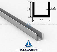 Швеллер алюмниевый 15х15х1.5 мм анодированный ПАС-2042