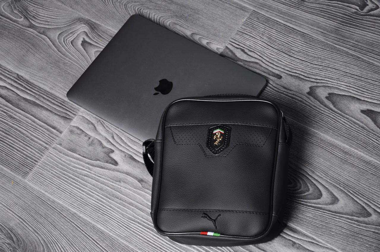 cf43c9d9f2e9 Кожаная сумка на плече мужская Ferrari, Puma, черная, маленькая (Реплика) -