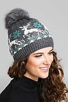 Двойная женская шапка с помпоном из натурального меха, фото 1
