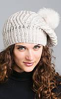 Женская шапка-берет с помпоном из натурального меха