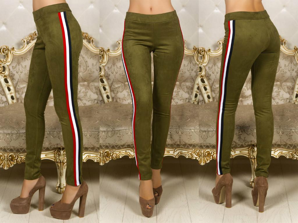 Облегающие замшевые штаны лосины с трехцветными лампасами