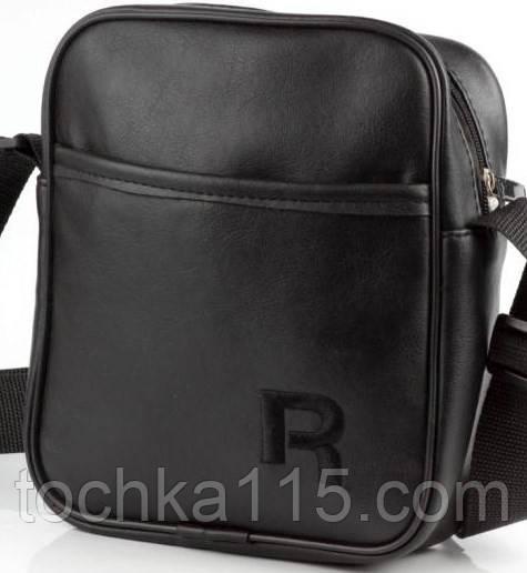 Мужская барсетка reebok большая, логотип черный  реплика