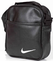 Мужская кожаная сумка через плече NIKE большая, логотип белый  реплика