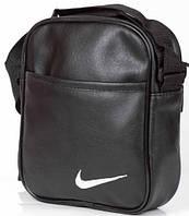 Мужская кожаная сумка через плече NIKE малая, барсетка мужская, барсетка найк, логотип белый  реплика, фото 1