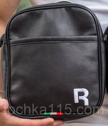 Мужская барсетка reebok большая, логотип R белый  реплика