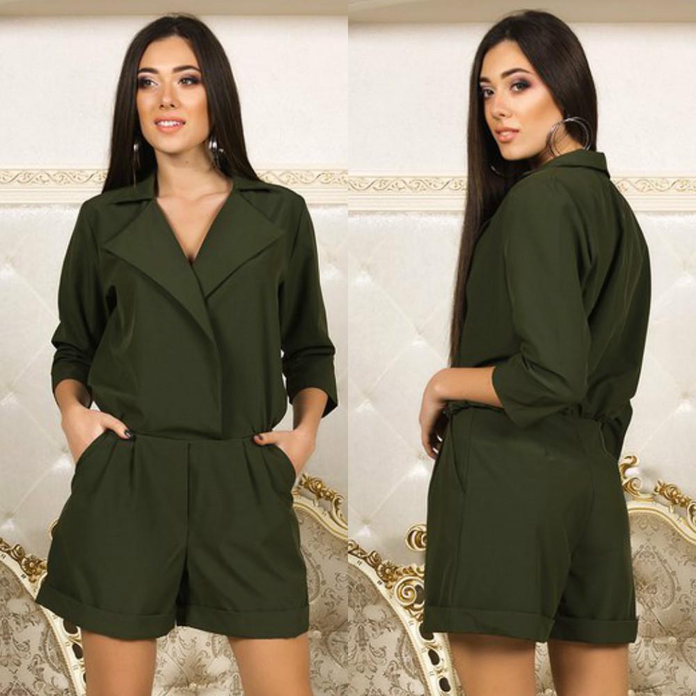 935b4dec0 Молодежный женский комбинезон шортами с отложным воротом в стиле casual  кэжуал - AMONA интернет-магазин
