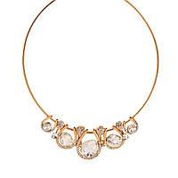 Колье, Цинковый сплав + Стекло + Страз, Ожерелья, Цвет: золото, 43.5 см