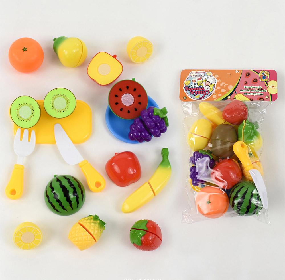 Игровой набор продукты на липучке фрукты 10 шт, досточка, нож, в кульке,  6055